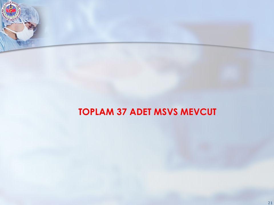21 TOPLAM 37 ADET MSVS MEVCUT