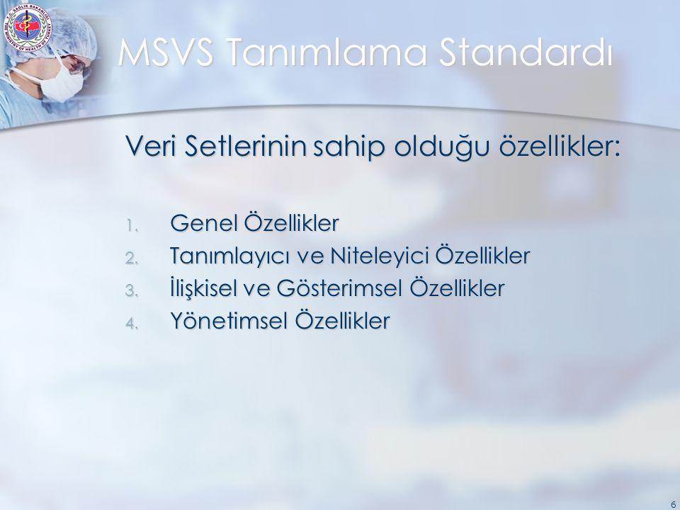6 MSVS Tanımlama Standardı Veri Setlerinin sahip olduğu özellikler: 1. Genel Özellikler 2. Tanımlayıcı ve Niteleyici Özellikler 3. İlişkisel ve Göster