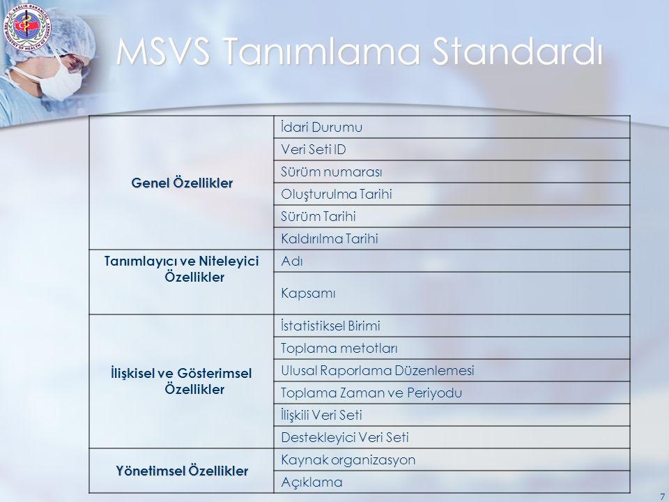 7 MSVS Tanımlama Standardı Genel Özellikler İdari Durumu Veri Seti ID Sürüm numarası Oluşturulma Tarihi Sürüm Tarihi Kaldırılma Tarihi Tanımlayıcı ve Niteleyici Özellikler Adı Kapsamı İlişkisel ve Gösterimsel Özellikler İstatistiksel Birimi Toplama metotları Ulusal Raporlama Düzenlemesi Toplama Zaman ve Periyodu İlişkili Veri Seti Destekleyici Veri Seti Yönetimsel Özellikler Kaynak organizasyon Açıklama