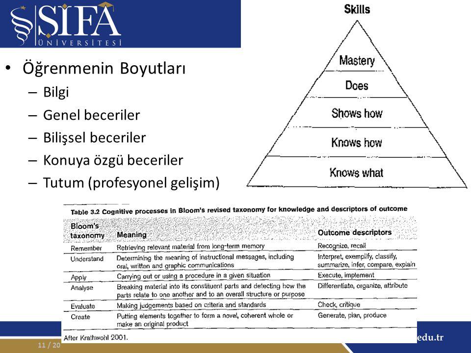 Öğrenmenin Boyutları – Bilgi – Genel beceriler – Bilişsel beceriler – Konuya özgü beceriler – Tutum (profesyonel gelişim) / 2011