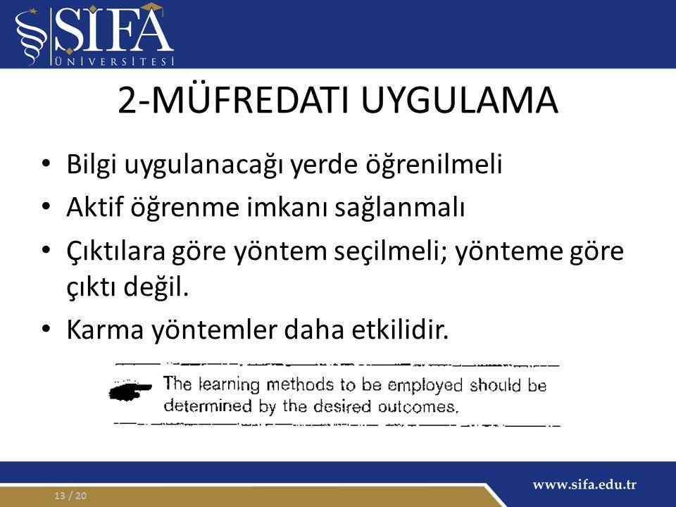 2-MÜFREDATI UYGULAMA Bilgi uygulanacağı yerde öğrenilmeli Aktif öğrenme imkanı sağlanmalı Çıktılara göre yöntem seçilmeli; yönteme göre çıktı değil. K