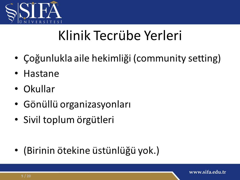 Klinik Tecrübe Yerleri Çoğunlukla aile hekimliği (community setting) Hastane Okullar Gönüllü organizasyonları Sivil toplum örgütleri (Birinin ötekine