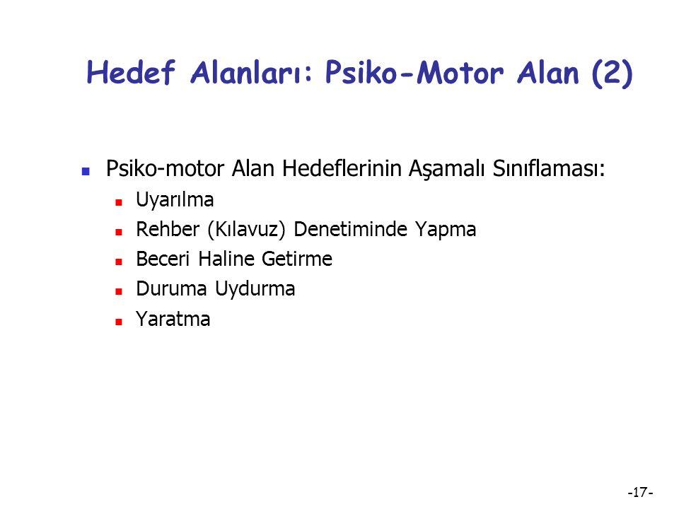 -16- Hedef Alanları: Psiko-Motor Alan Psiko-Motor (Devinişsel) Alan Davranışları: Psiko-motor alan ile ilgili davranışlar zihin ve kas koordinasyonunu
