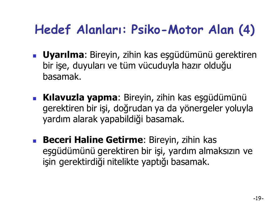 -18- Hedef Alanları: Psiko-Motor Alan ( 3 ) Psiko-motor Alan Hedeflerinin Aşamalı Sınıflaması: Uyarılma Rehber Denetiminde Yapma Beceri Haline Getirme