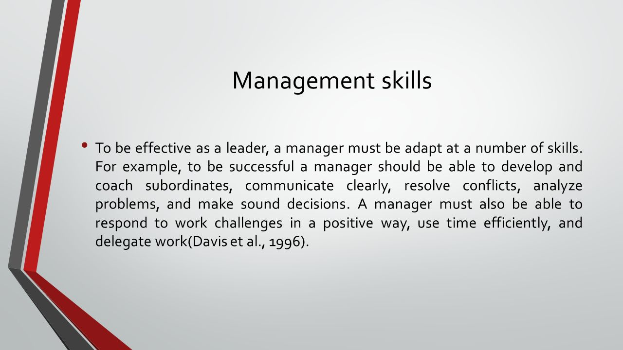 Management skills To be effective as a leader, a manager must be adapt at a number of skills.