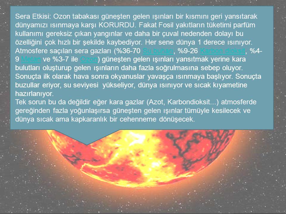 Sera Etkisi: Ozon tabakası güneşten gelen ışınları bir kısmını geri yansıtarak dünyamızı ısınmaya karşı KORURDU.