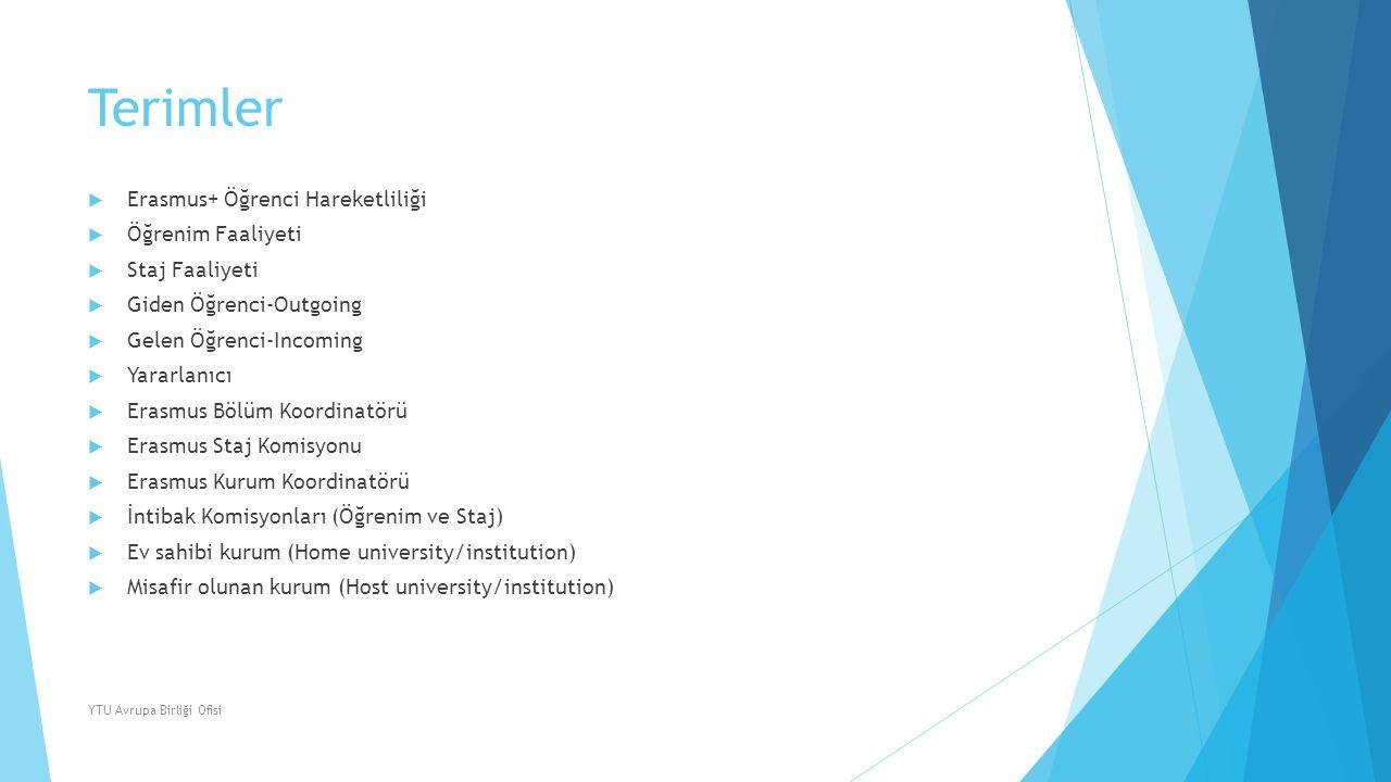 Terimler  Erasmus+ Öğrenci Hareketliliği  Öğrenim Faaliyeti  Staj Faaliyeti  Giden Öğrenci-Outgoing  Gelen Öğrenci-Incoming  Yararlanıcı  Erasm