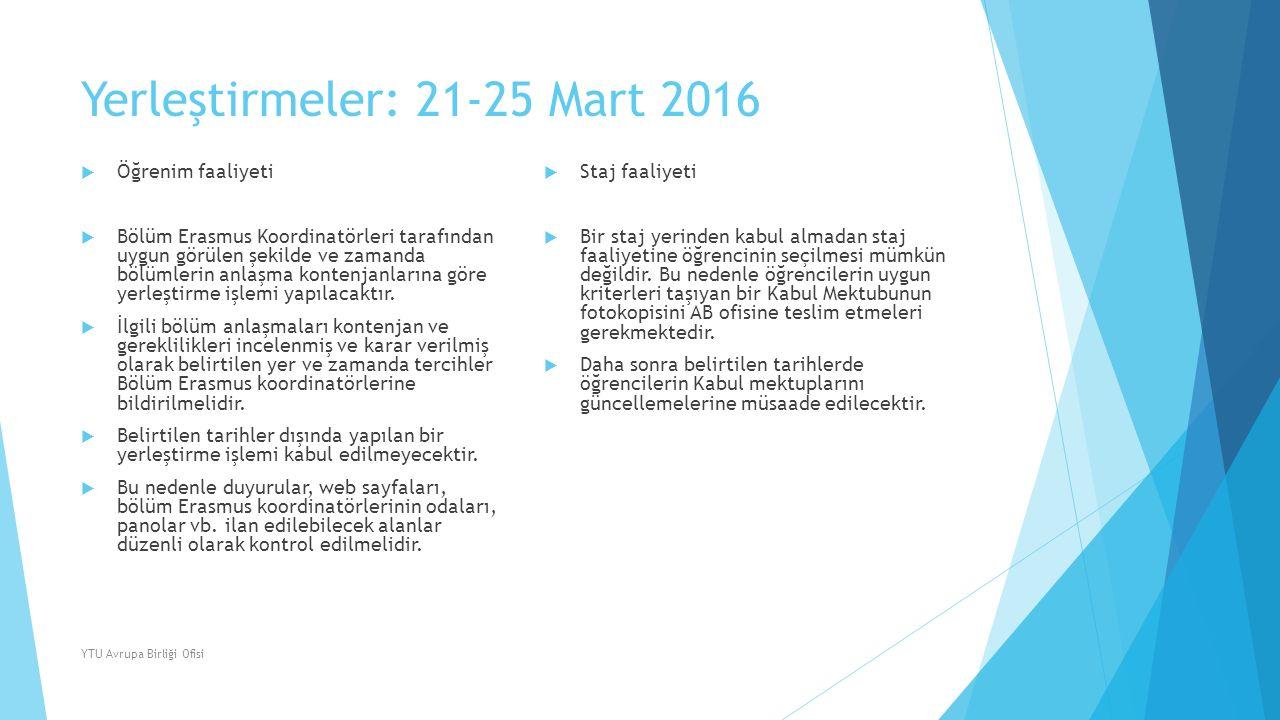 Yerleştirmeler: 21-25 Mart 2016  Öğrenim faaliyeti  Bölüm Erasmus Koordinatörleri tarafından uygun görülen şekilde ve zamanda bölümlerin anlaşma kon