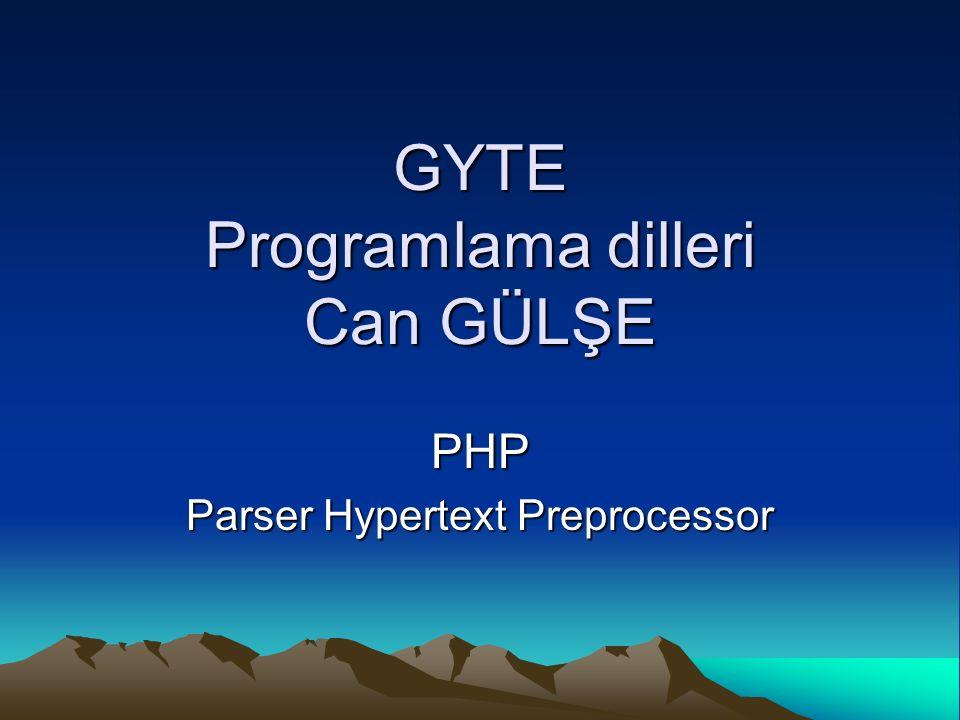 PHP Eski adı Personal Home Page dir.Sunucu taraflı bir script dilidir.