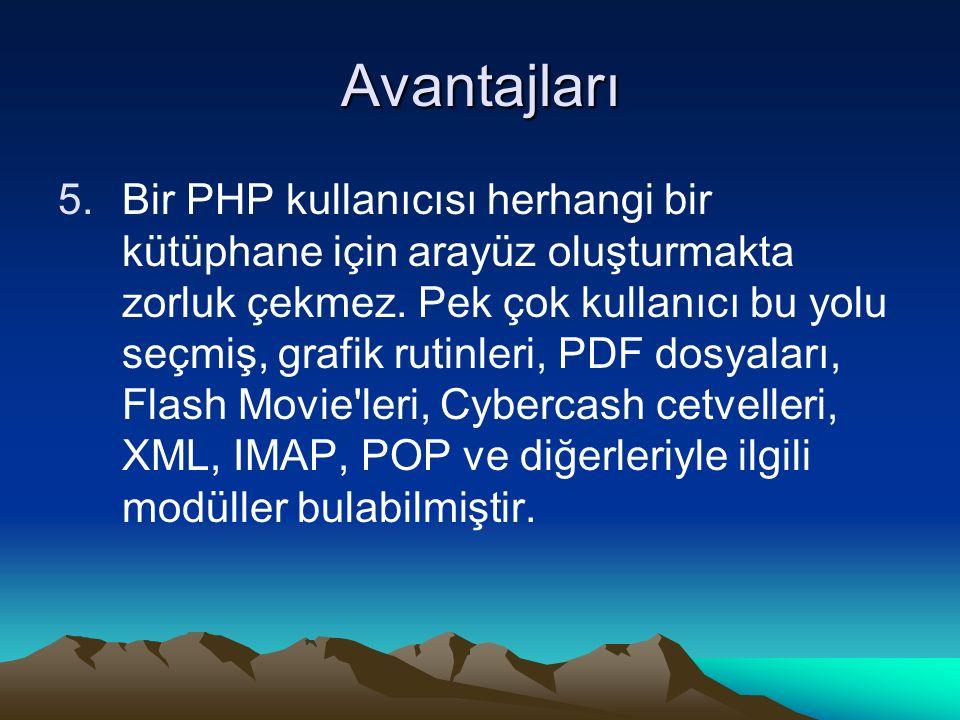 Avantajları 5.Bir PHP kullanıcısı herhangi bir kütüphane için arayüz oluşturmakta zorluk çekmez. Pek çok kullanıcı bu yolu seçmiş, grafik rutinleri, P