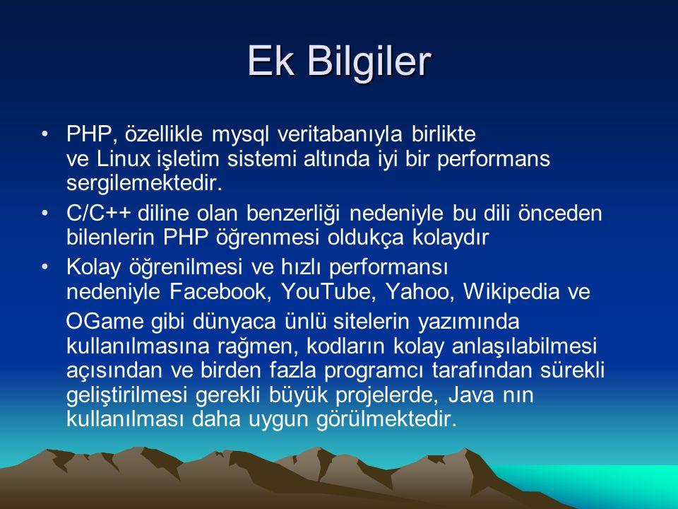 Ek Bilgiler PHP, özellikle mysql veritabanıyla birlikte ve Linux işletim sistemi altında iyi bir performans sergilemektedir. C/C++ diline olan benzerl
