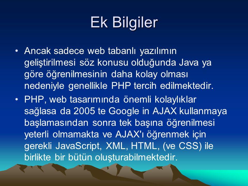 Ek Bilgiler Ancak sadece web tabanlı yazılımın geliştirilmesi söz konusu olduğunda Java ya göre öğrenilmesinin daha kolay olması nedeniyle genellikle