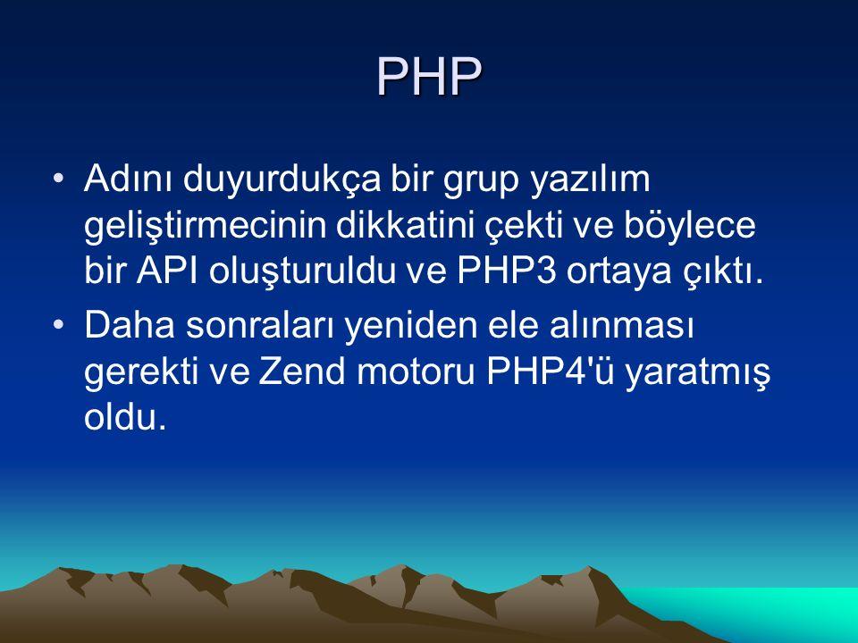 PHP Adını duyurdukça bir grup yazılım geliştirmecinin dikkatini çekti ve böylece bir API oluşturuldu ve PHP3 ortaya çıktı. Daha sonraları yeniden ele