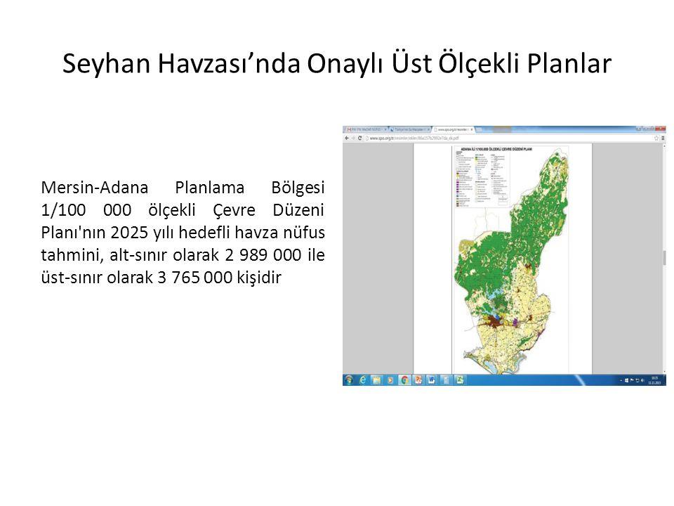 Seyhan Havzası'nda Onaylı Üst Ölçekli Planlar Mersin-Adana Planlama Bölgesi 1/100 000 ölçekli Çevre Düzeni Planı nın 2025 yılı hedefli havza nüfus tahmini, alt-sınır olarak 2 989 000 ile üst-sınır olarak 3 765 000 kişidir