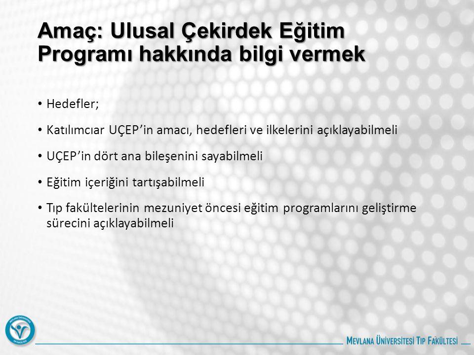 Amaç: Ulusal Çekirdek Eğitim Programı hakkında bilgi vermek Hedefler; Katılımcıar UÇEP'in amacı, hedefleri ve ilkelerini açıklayabilmeli UÇEP'in dört ana bileşenini sayabilmeli Eğitim içeriğini tartışabilmeli Tıp fakültelerinin mezuniyet öncesi eğitim programlarını geliştirme sürecini açıklayabilmeli 2
