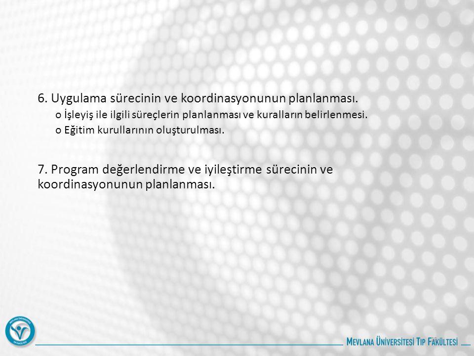 6. Uygulama sürecinin ve koordinasyonunun planlanması.