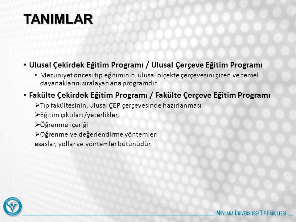 TANIMLAR Ulusal Çekirdek Eğitim Programı / Ulusal Çerçeve Eğitim Programı Mezuniyet öncesi tıp eğitiminin, ulusal ölçekte çerçevesini çizen ve temel dayanaklarını sıralayan ana programdır.