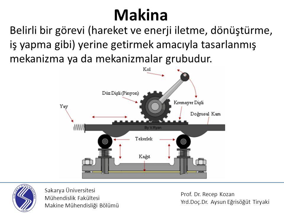 Sakarya Üniversitesi Mühendislik Fakültesi Makine Mühendisliği Bölümü Makina Prof. Dr. Recep Kozan Yrd.Doç.Dr. Aysun Eğrisöğüt Tiryaki Belirli bir gör