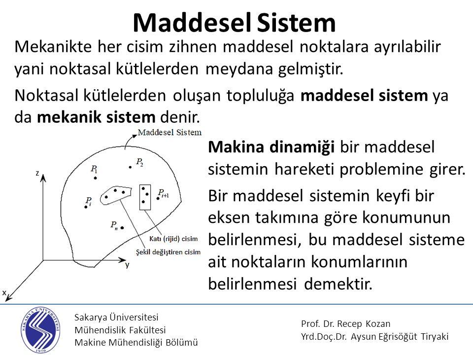 Sakarya Üniversitesi Mühendislik Fakültesi Makine Mühendisliği Bölümü Mekanikte her cisim zihnen maddesel noktalara ayrılabilir yani noktasal kütleler