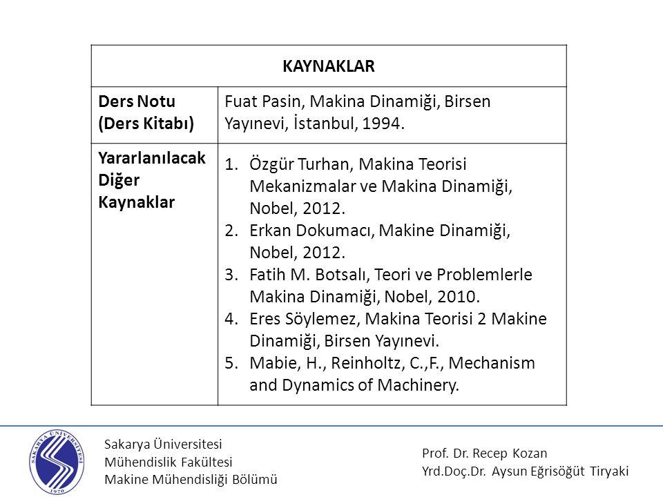 Sakarya Üniversitesi Mühendislik Fakültesi Makine Mühendisliği Bölümü KAYNAKLAR Ders Notu (Ders Kitabı) Fuat Pasin, Makina Dinamiği, Birsen Yayınevi,
