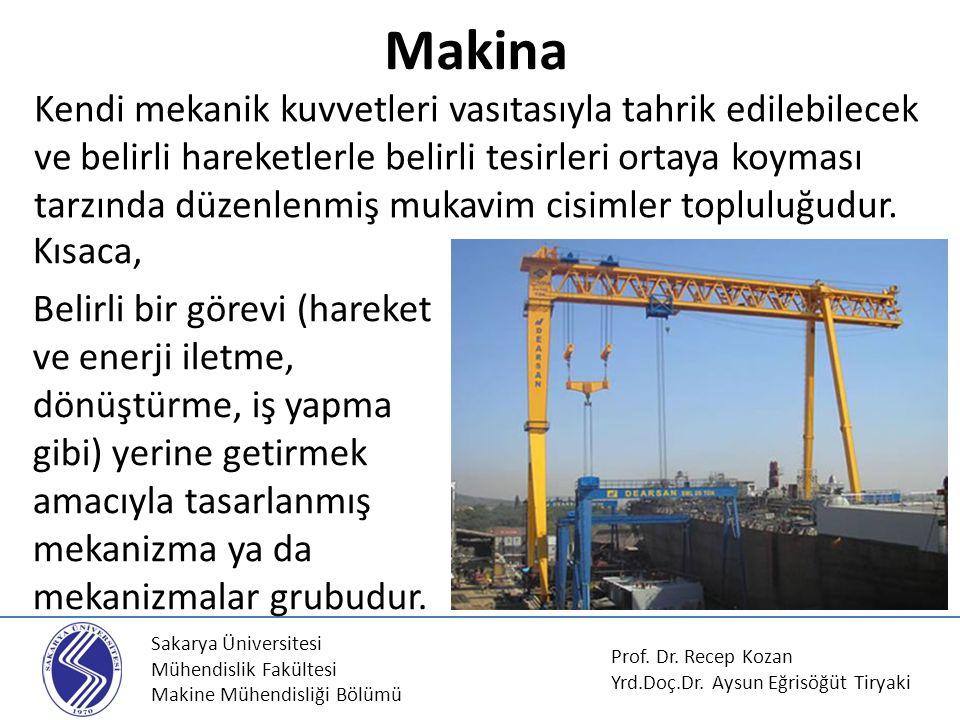 Sakarya Üniversitesi Mühendislik Fakültesi Makine Mühendisliği Bölümü Kendi mekanik kuvvetleri vasıtasıyla tahrik edilebilecek ve belirli hareketlerle