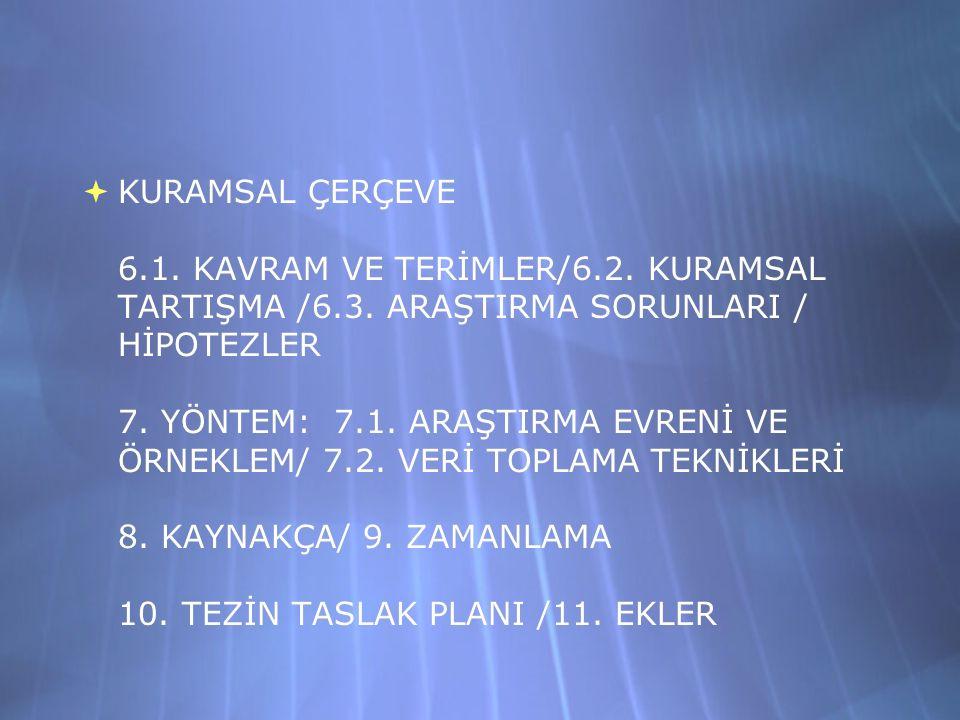  KURAMSAL ÇERÇEVE 6.1. KAVRAM VE TERİMLER/6.2. KURAMSAL TARTIŞMA /6.3.