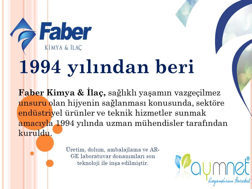1994 yılından beri Faber Kimya & İlaç, sağlıklı yaşamın vazgeçilmez unsuru olan hijyenin sağlanması konusunda, sektöre endüstriyel ürünler ve teknik hizmetler sunmak amacıyla 1994 yılında uzman mühendisler tarafından kuruldu.
