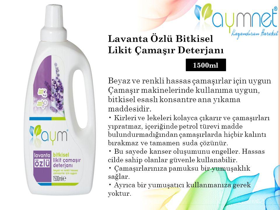 Lavanta Özlü Bitkisel Likit Çamaşır Deterjanı Beyaz ve renkli hassas çamaşırlar için uygun Çamaşır makinelerinde kullanıma uygun, bitkisel esaslı konsantre ana yıkama maddesidir.