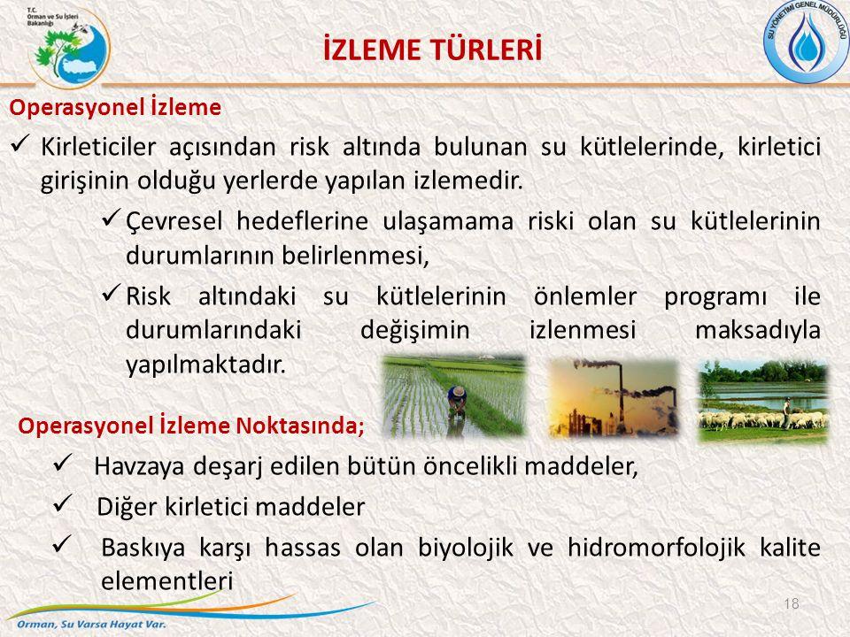 Operasyonel İzleme Kirleticiler açısından risk altında bulunan su kütlelerinde, kirletici girişinin olduğu yerlerde yapılan izlemedir.