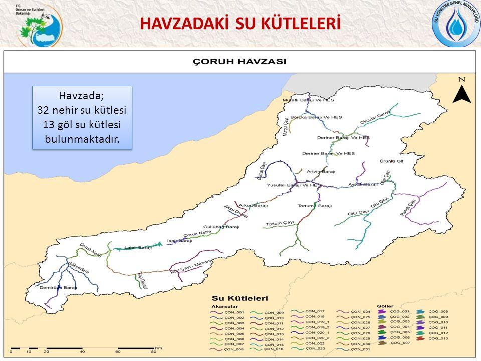 HAVZADAKİ SU KÜTLELERİ 35 Havzada; 32 nehir su kütlesi 13 göl su kütlesi bulunmaktadır.