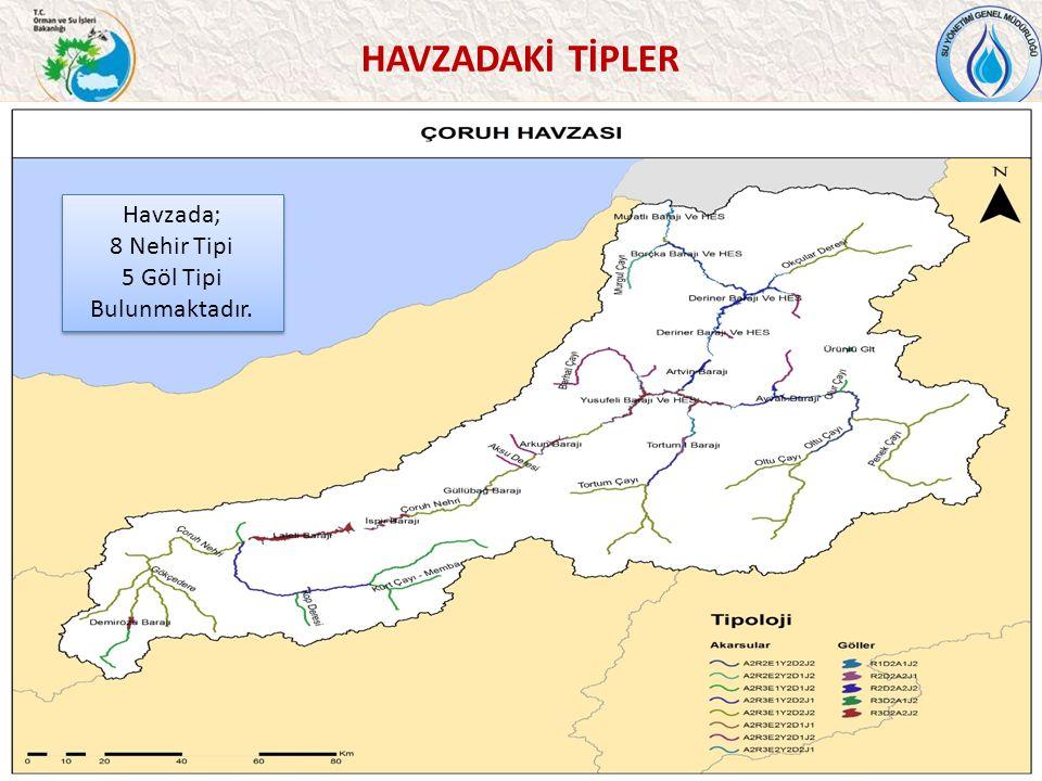 HAVZADAKİ TİPLER 36 Havzada; 8 Nehir Tipi 5 Göl Tipi Bulunmaktadır.