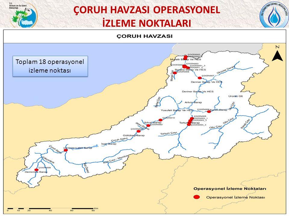43 ÇORUH HAVZASI OPERASYONEL İZLEME NOKTALARI Toplam 18 operasyonel izleme noktası