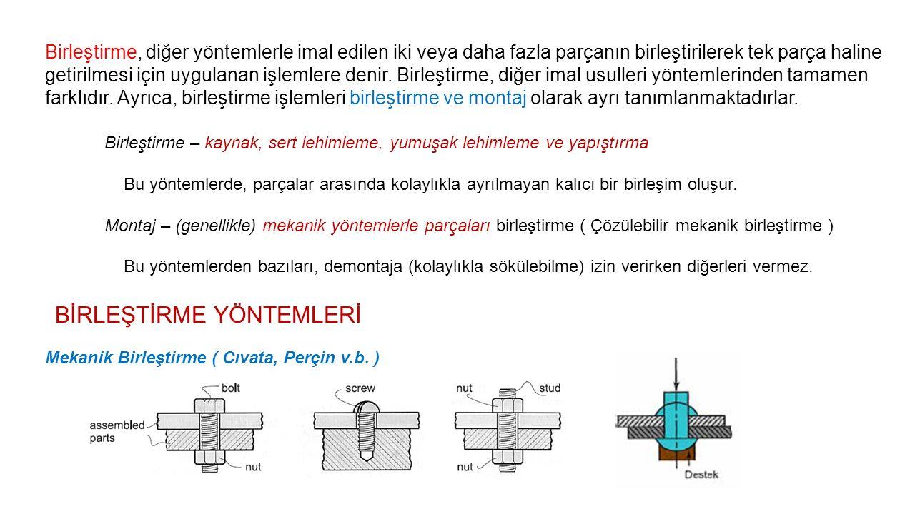 Birleştirme, diğer yöntemlerle imal edilen iki veya daha fazla parçanın birleştirilerek tek parça haline getirilmesi için uygulanan işlemlere denir. B