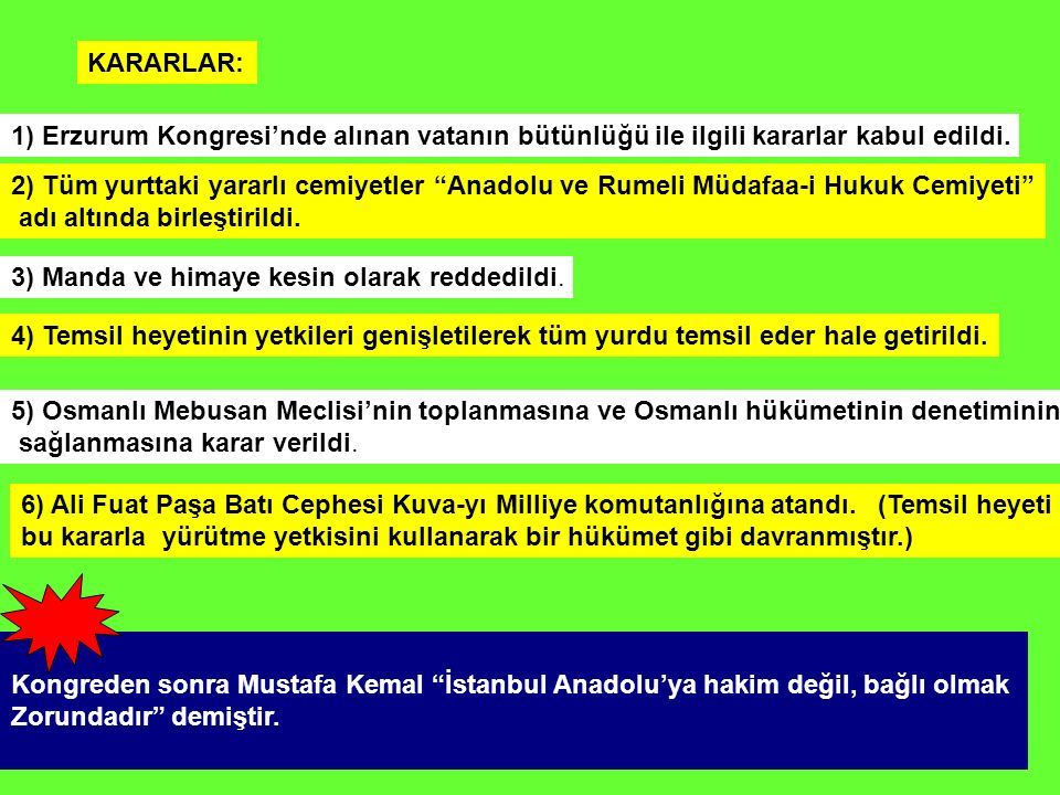 """KARARLAR: 1) Erzurum Kongresi'nde alınan vatanın bütünlüğü ile ilgili kararlar kabul edildi. 2) Tüm yurttaki yararlı cemiyetler """"Anadolu ve Rumeli Müd"""