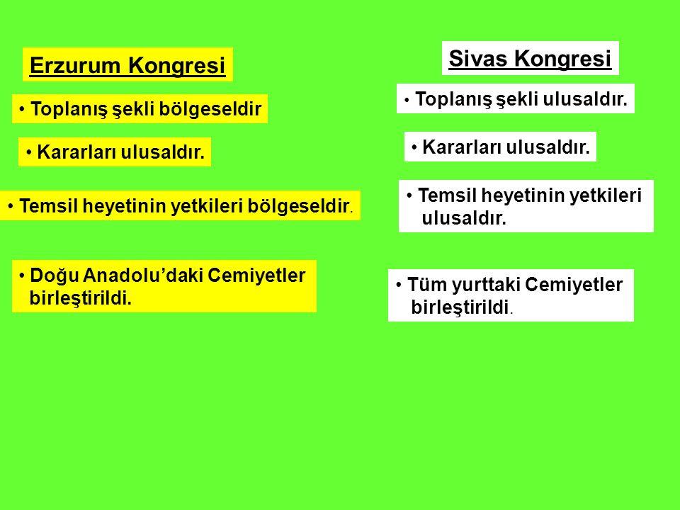 Erzurum Kongresi Sivas Kongresi Toplanış şekli bölgeseldir Toplanış şekli ulusaldır. Kararları ulusaldır. Temsil heyetinin yetkileri bölgeseldir. Tems
