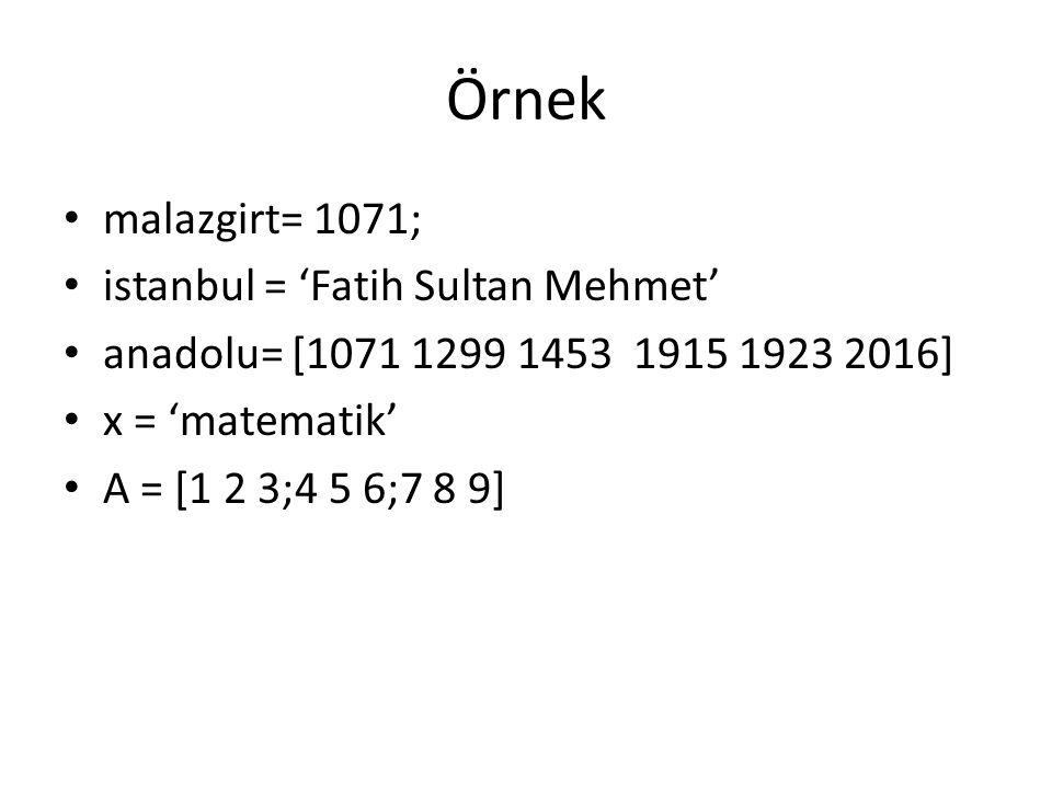 Örnek malazgirt= 1071; istanbul = 'Fatih Sultan Mehmet' anadolu= [1071 1299 1453 1915 1923 2016] x = 'matematik' A = [1 2 3;4 5 6;7 8 9]