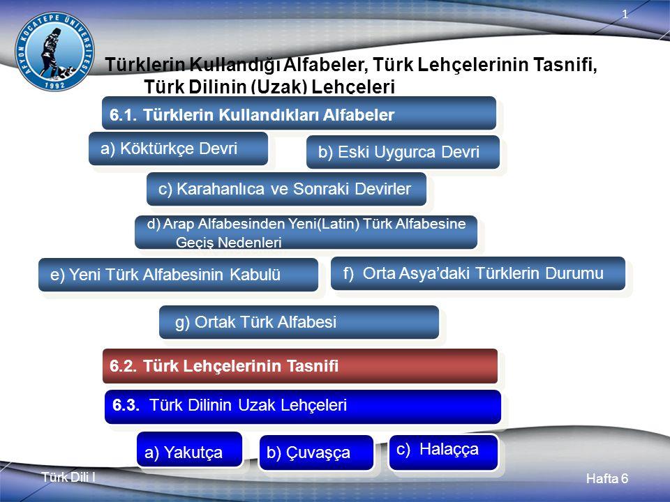 Türk Dili I Hafta 6 1 Türklerin Kullandığı Alfabeler, Türk Lehçelerinin Tasnifi, Türk Dilinin (Uzak) Lehçeleri 6.1.