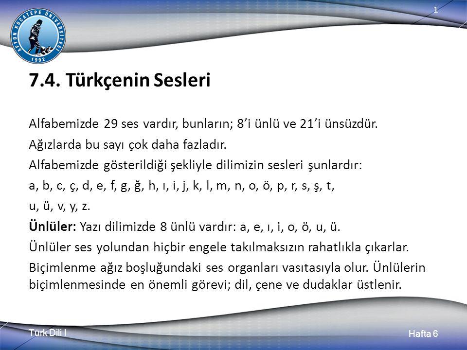 Türk Dili I Hafta 6 1 7.4.
