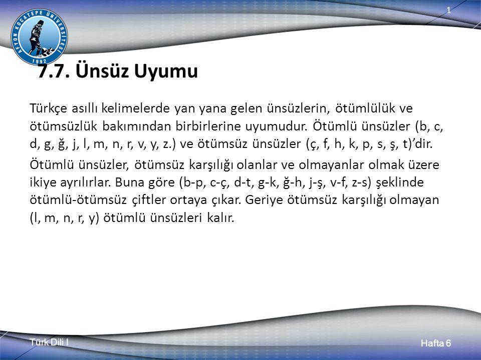 Türk Dili I Hafta 6 1 7.7.