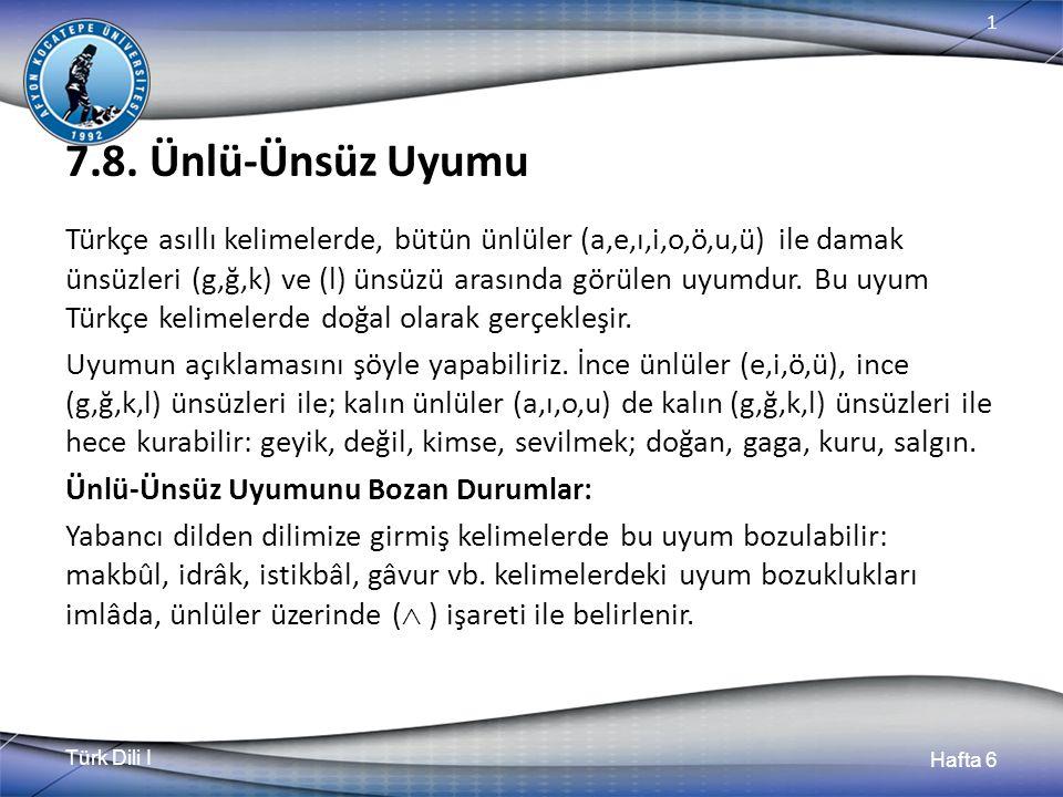 Türk Dili I Hafta 6 1 7.8.