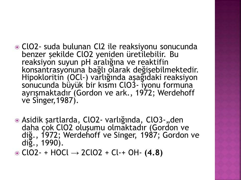  ClO2- suda bulunan Cl2 ile reaksiyonu sonucunda benzer şekilde ClO2 yeniden üretilebilir.