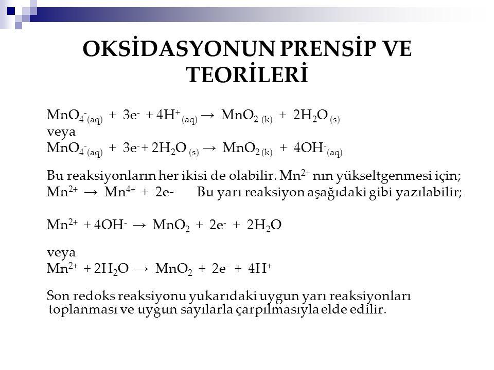OKSİDASYONUN PRENSİP VE TEORİLERİ MnO 4 - (aq) + 3e - + 4H + (aq) → MnO 2 (k) + 2H 2 O (s) veya MnO 4 - (aq) + 3e - + 2H 2 O (s) → MnO 2 (k) + 4OH - (