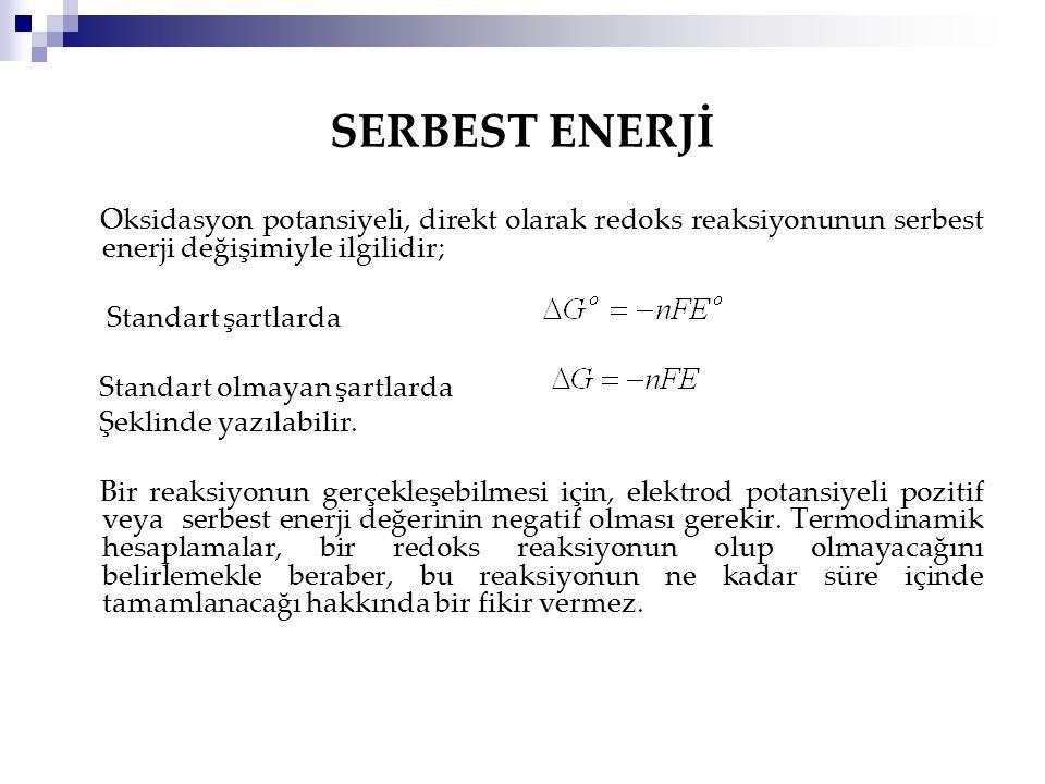 SERBEST ENERJİ Oksidasyon potansiyeli, direkt olarak redoks reaksiyonunun serbest enerji değişimiyle ilgilidir; Standart şartlarda Standart olmayan şa