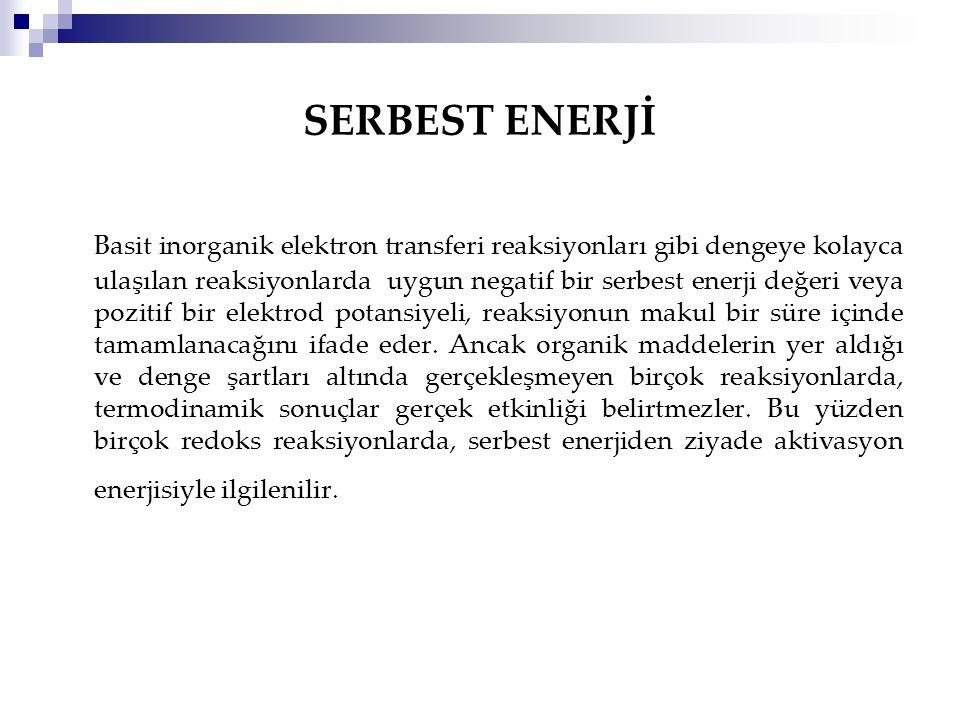SERBEST ENERJİ Basit inorganik elektron transferi reaksiyonları gibi dengeye kolayca ulaşılan reaksiyonlarda uygun negatif bir serbest enerji değeri v