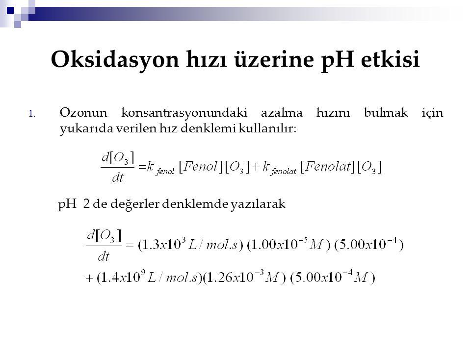 Oksidasyon hızı üzerine pH etkisi 1. Ozonun konsantrasyonundaki azalma hızını bulmak için yukarıda verilen hız denklemi kullanılır: pH 2 de değerler d
