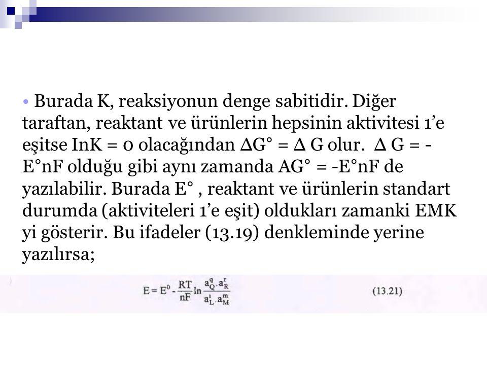05.03.2009 Burada K, reaksiyonun denge sabitidir. Diğer taraftan, reaktant ve ürünlerin hepsinin aktivitesi 1'e eşitse InK = 0 olacağından ΔG° = Δ G o