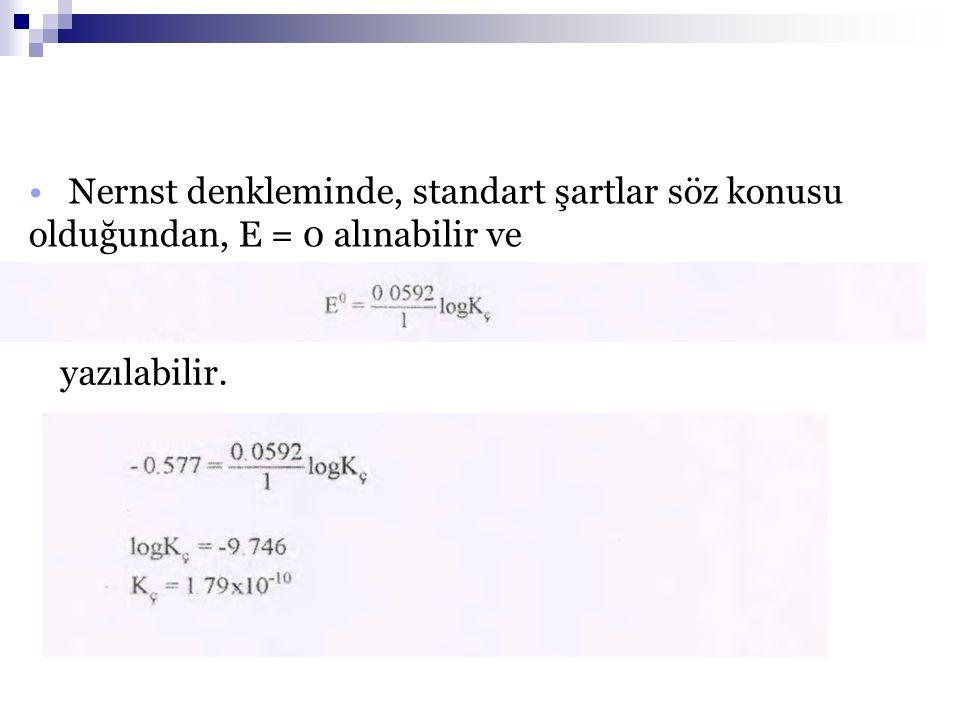 05.03.2009 Nernst denkleminde, standart şartlar söz konusu olduğundan, E = 0 alınabilir ve yazılabilir.