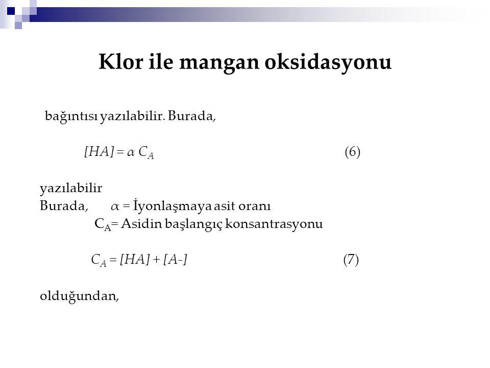 Klor ile mangan oksidasyonu bağıntısı yazılabilir. Burada, [HA] = α C A (6) yazılabilir Burada, α = İyonlaşmaya asit oranı C A = Asidin başlangıç kons