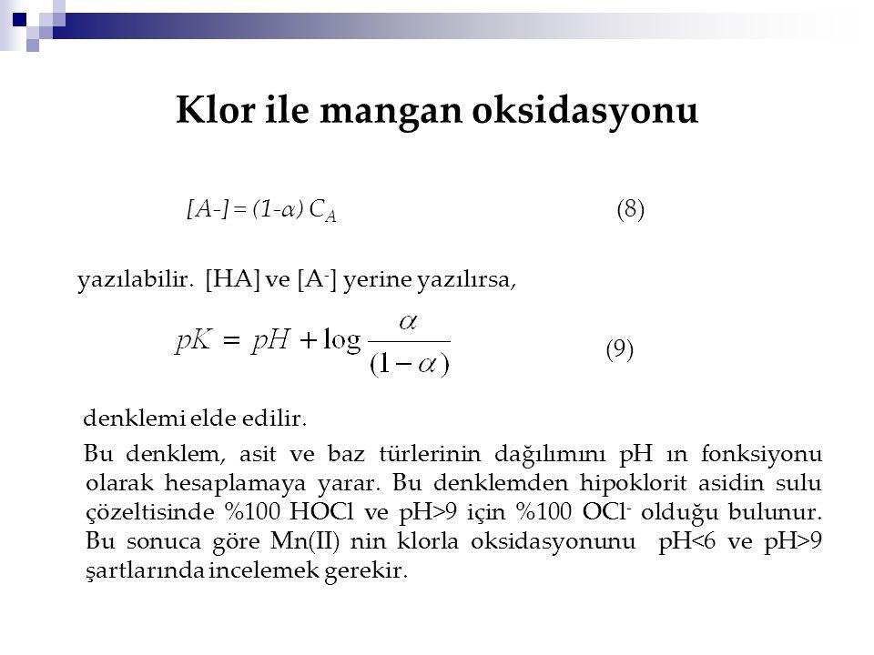 Klor ile mangan oksidasyonu [A-] = (1-α) C A (8) yazılabilir. [HA] ve [A - ] yerine yazılırsa, (9) denklemi elde edilir. Bu denklem, asit ve baz türle