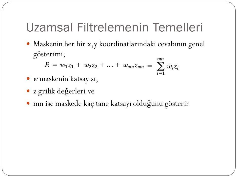 Uzamsal Filtrelemenin Temelleri Maskenin her bir x,y koordinatlarındaki cevabının genel gösterimi; w maskenin katsayısı, z grilik de ğ erleri ve mn is